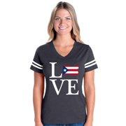 Womens Puerto Rico Flag Football V-Neck T-Shirt