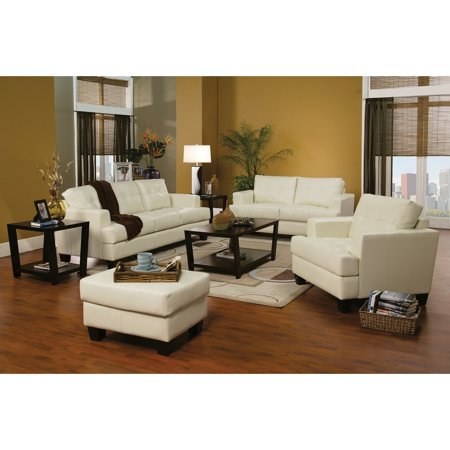 Coach Cream (Benzara Deluxe Three Seat Sofa With Leather Upholstery, Cream )