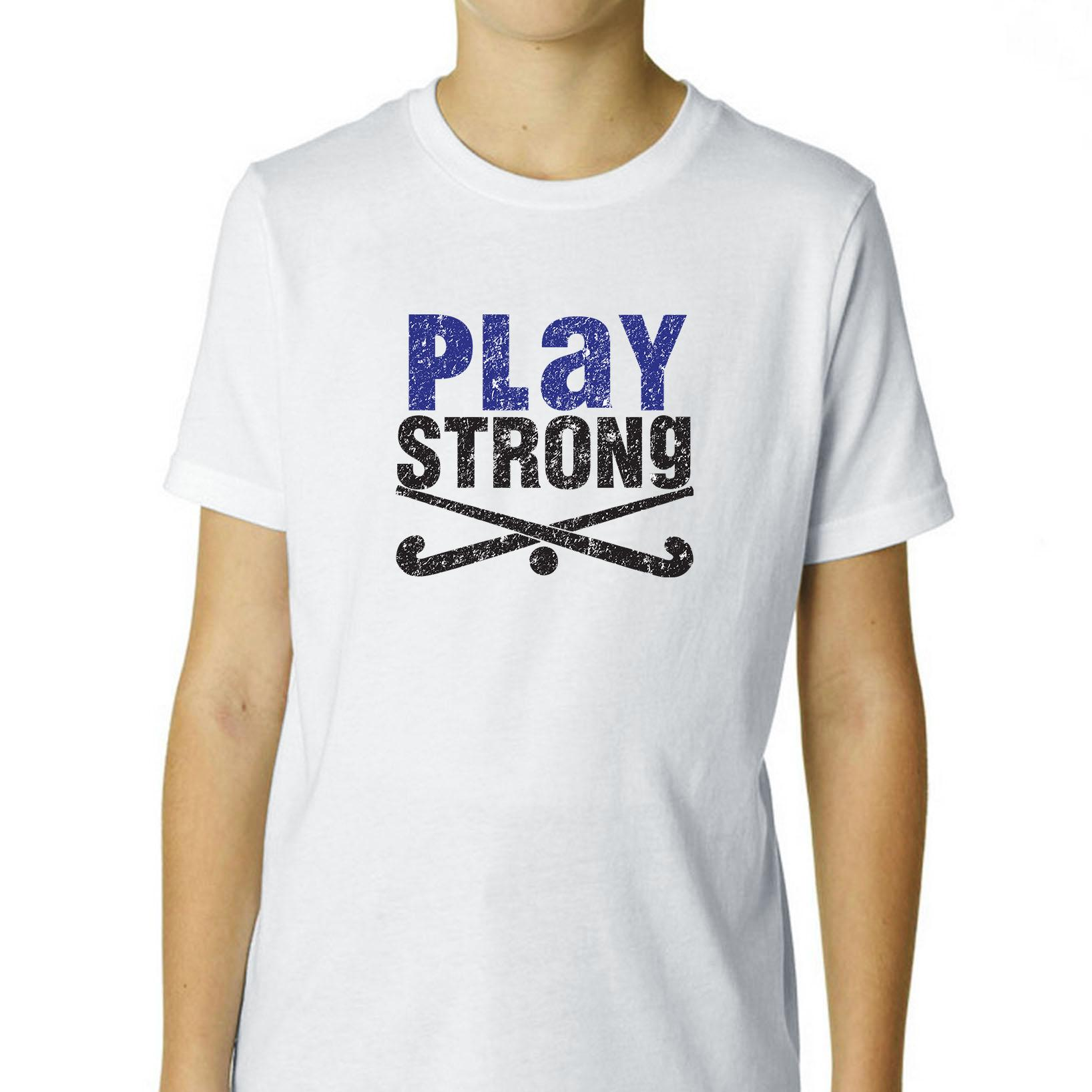 Field Hockey Play Strong Crossed Sticks Graphic Boy's Cotton Youth T-Shirt by Hollywood Thread