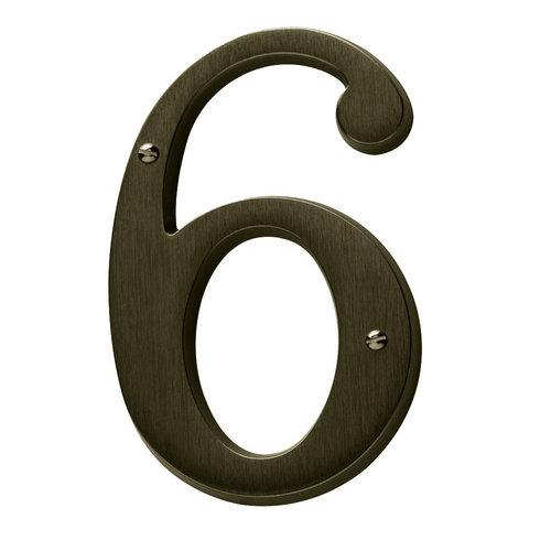 Baldwin  90676  Address Numbers  House Number  Home Accents  6  ;Satin Brass and Black