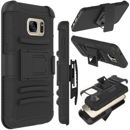 Tekcoo For Samsung Galaxy S7 / Galaxy S7 Edge / Galaxy S7 Active Cases, Tekcoo [Hoplite] Shock Absorbing Locking Clip Defender Heavy Full Body Kickstand Carrying Armor Cases Cover (Best Lightweight Body Armor)