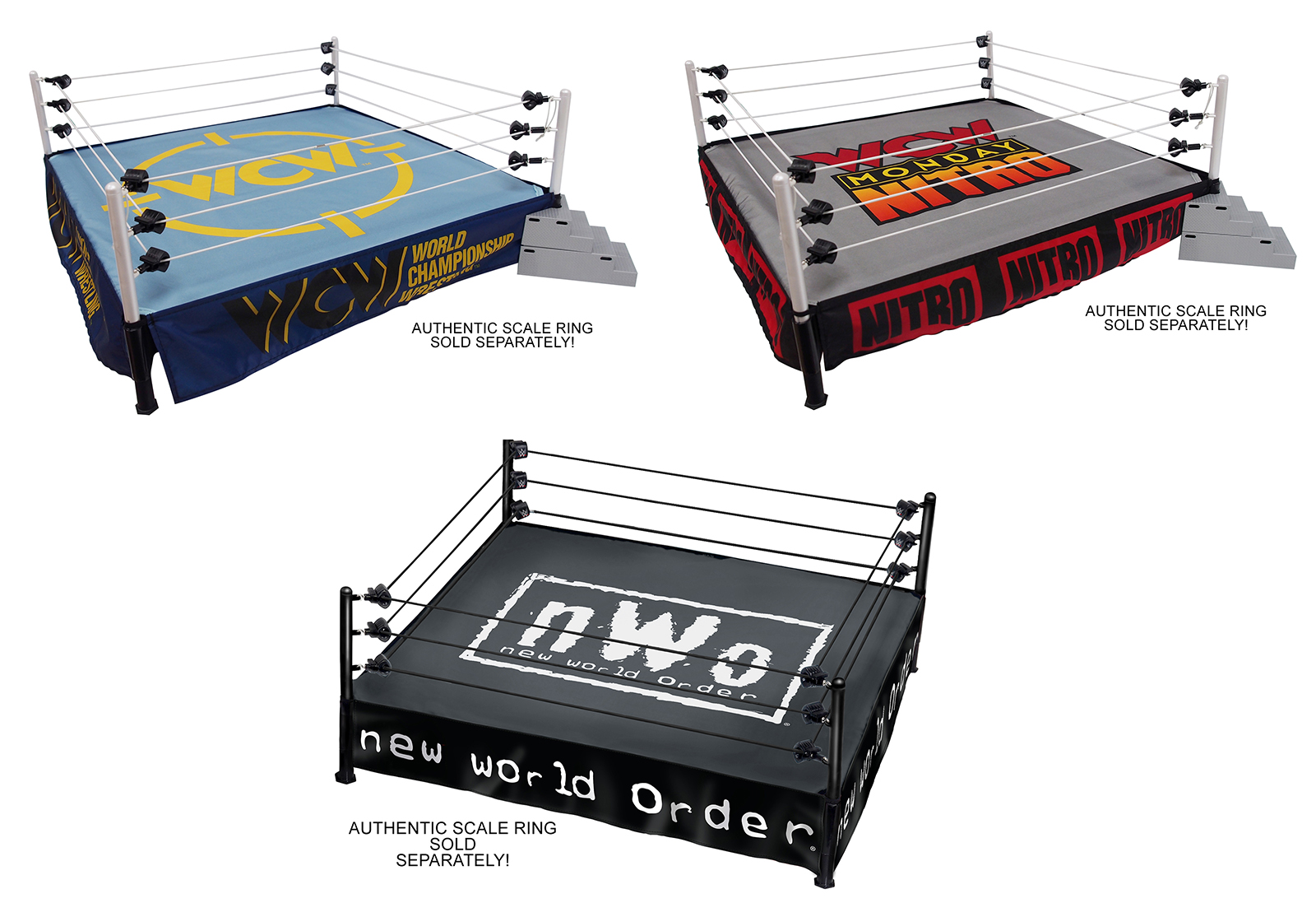 WCW Nitro /& WCW Classic Package Deal Set of 4 2 Ring Skirts /& 2 Ring Mats