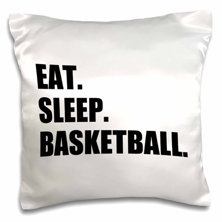 Basketball Pillow (3dRose Eat Sleep Basketball - passionate about team sport - sporty Bball game, Pillow Case, 16 by 16-inch )