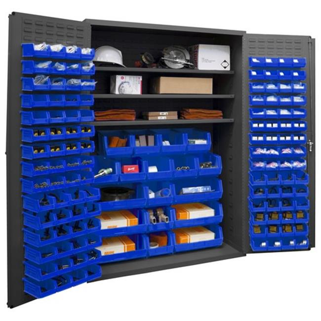 14 Gauge Flush Door Style Lockable Cabinet with 138 Blue Hook on Bins & 3 Adjustable Shelves, Gray - 48 in.
