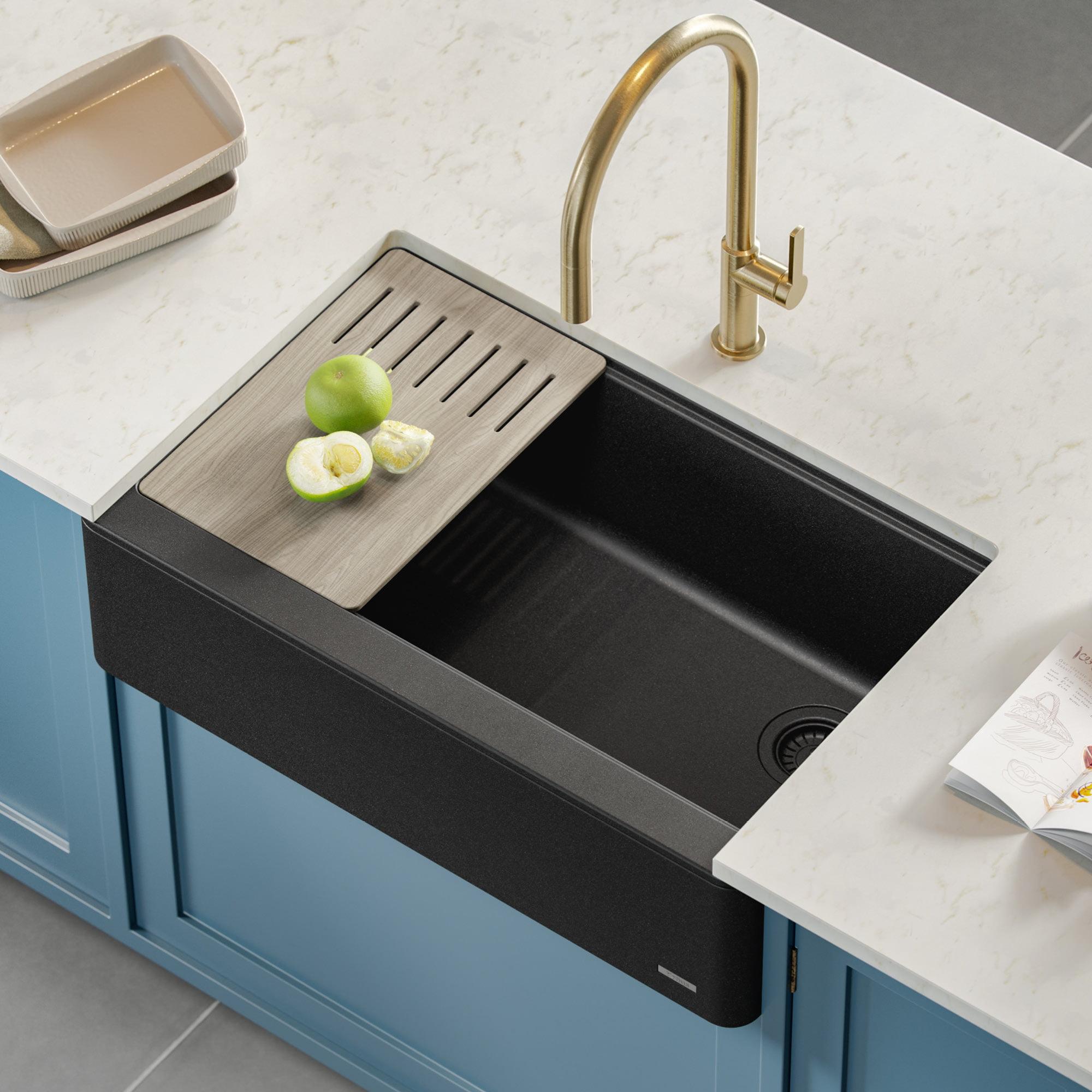 Kraus Bellucci Workstation 33 Quartz Composite Single Bowl Farmhouse Kitchen Sink In Metallic Black Walmart Com Walmart Com
