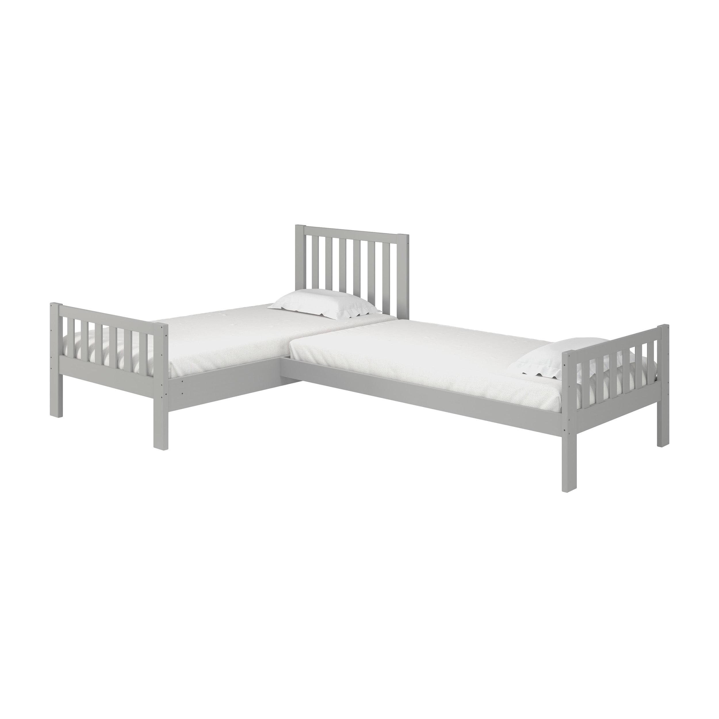 Picture of: Aurora Corner L Shaped Twin Wood Bed Set White Walmart Com Walmart Com