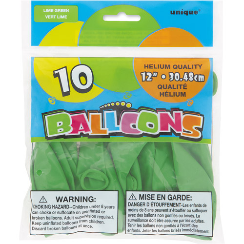 12��� Lime Green Balloons, 10ct