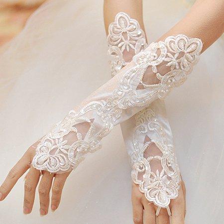 SHOPFIVE 1/2pair Satin Wedding Dress Glove Ladies Long Fingerless Lace Gloves Black/White