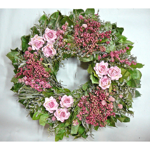 Dried Flowers and Wreaths LLC 22'' Pink Rose and Berry Wreath