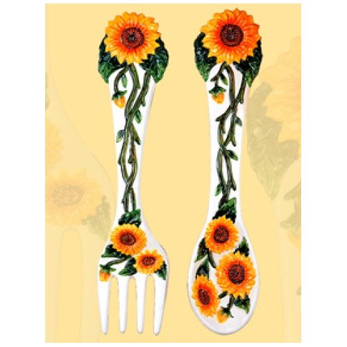 ABC Home Collection Sunflower Decorative Spoon and Fork Wall Decor ...