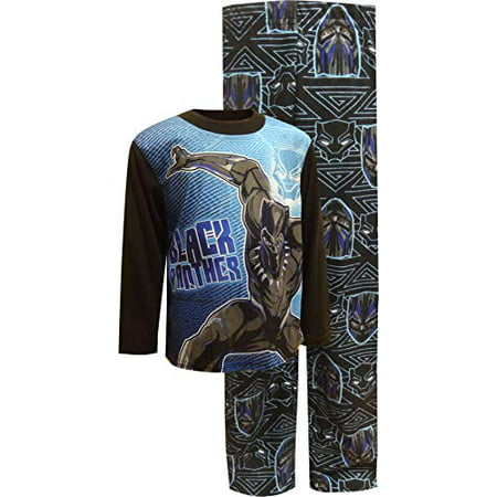 Marvel Boys' Big Black Panther 2-Piece Pajama Set, Vibranium, 10 - Football Pajamas For Boys