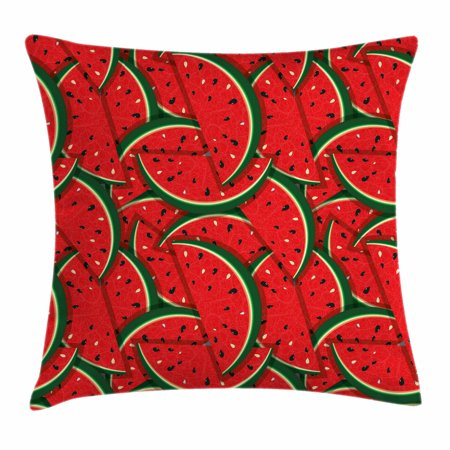 Organic Pillow Cover (Fruits Throw Pillow Cushion Cover, Refreshing Watermelon Slices Summer Season Tropical Organic Yummy Artsy Design, Decorative Square Accent Pillow Case, 20 X 20 Inches, Red Hunter Green, by Ambesonne )