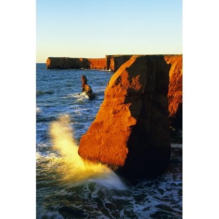 Sandstone Cliffs And Ocean Surf La Belle Anse Magdalen Islands Quebec Canvas Art - John Sylvester  Design Pics (22 x 34) ()