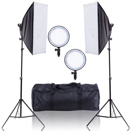 Photoflex Light Stand - Costway Adjustable Bright LED Softbox Continuous Lighting Studio w/ 2 Stand Carrying Bag