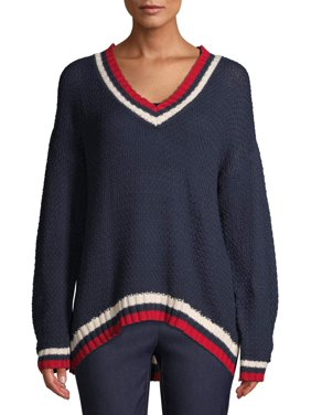 Time and Tru Womens V-Neck Varsity Sweater