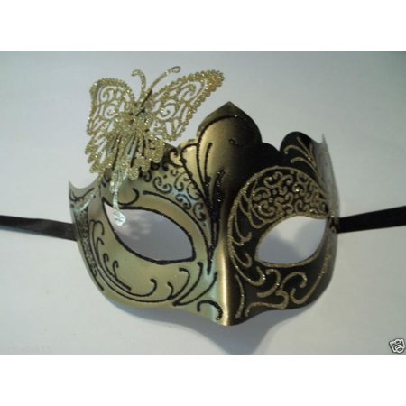 Butterfly Black Gold Laser Cut  Mardi Gras Masquerade Mask Adult
