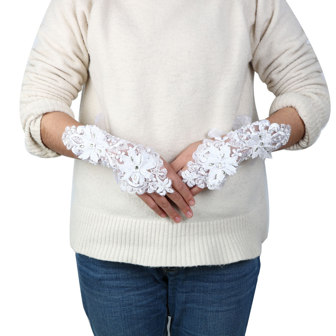 Lady Polyester Flower Style Handmade Bridesmaid Wrist Lace Fingerless Glove Pair