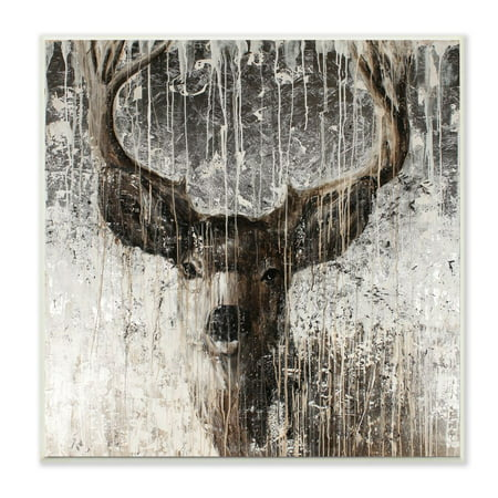 The Stupell Home Decor Collection Deer Portrait Distressed Dark Brown Painting Wood Wall -