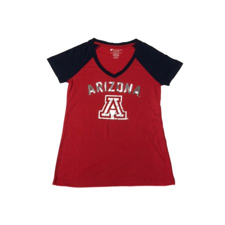 Arizona Wildcats Colosseum Womens Red With Sequin Logo Ss V Neck  T Shirt  M
