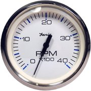 "Faria 33818 Chesapeake Tachometer Gauge Diesel - White SS, 4"""