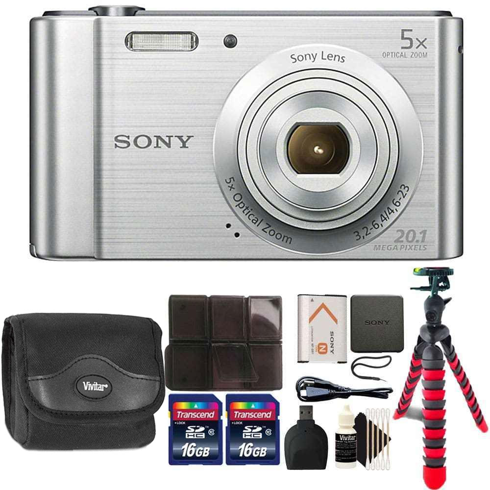 Sony Cyber-shot DSC-W800 Digital Camera (Silver) with 32GB Accessory Kit