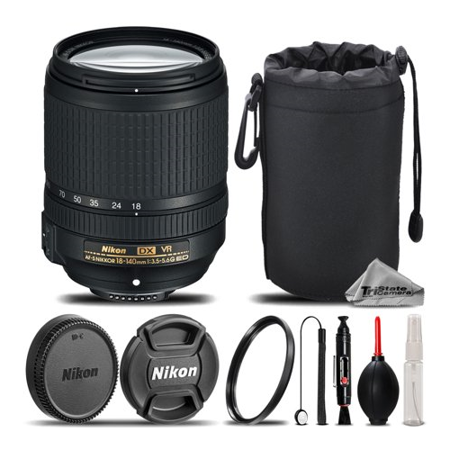 Nikon AF-S DX NIKKOR 18-140mm f/3.5-5.6G ED VR Lens For D3200, D3300, D5000, D5100, D5200, D5300, D5500, D7000, D7100 Nikon Digital SLR. All Original Accessories Included - International