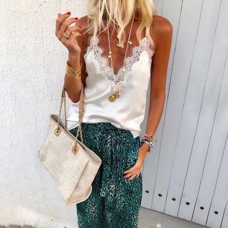 Womens Silk Blend - Women Sexy Satin Silk V Neck Lace Vest Camisole Tank Vest Blouse Cami Crop Tops White S