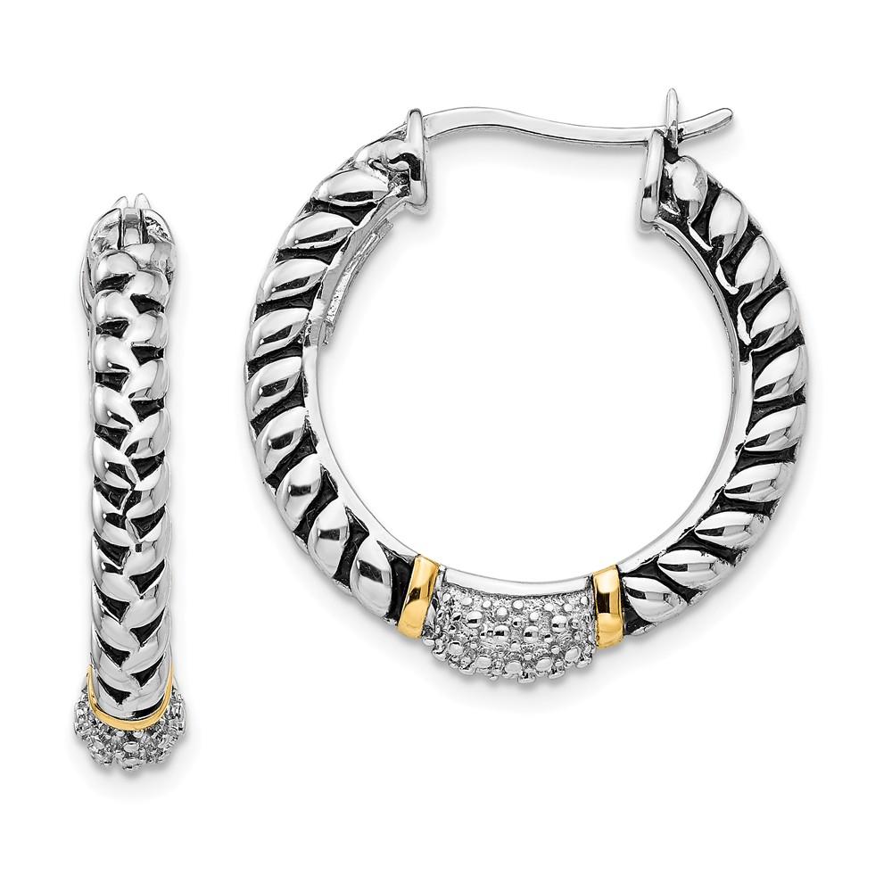 Sterling Silver 14k Yellow Gold 1/10ct. Diamond 0.7IN Hoop Vintage Style Earrings (0.8IN x 0.9IN )