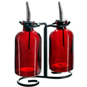 2-Piece Oil & Vinegar Glass Apothecary Cruet Set Red ()