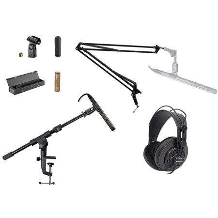 audio technica at897 shotgun condenser microphone mic case boom stand headphones. Black Bedroom Furniture Sets. Home Design Ideas