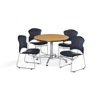 """OFM Multi-Use Break Room Package, 42"""" Round Table with Vinyl Stack Chairs, Oak Finish with Chrome-Plated Steel Base and Navy Seats (PKG-BRK-059)"""