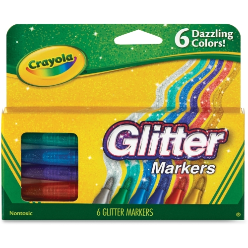 58-8629 Crayola 6 Color Glitter Markers Bullet Marker Point Style Fire Flecks, Gold Dust,... by Crayola
