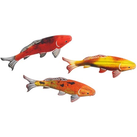 Koi 3 piece set 3 colors metal wall art by next for Koi fish metal art