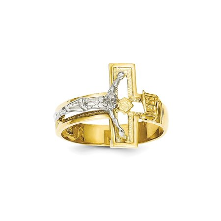 (Solid 14k Gold Two-tone Crucifix Cross Men's Ring (3mm) - Size 8)