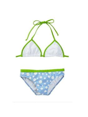 0acc25e18708 Product Image Azul Girls Blue Green Triangle Dippin' Dots Pc Bikini Swimsuit