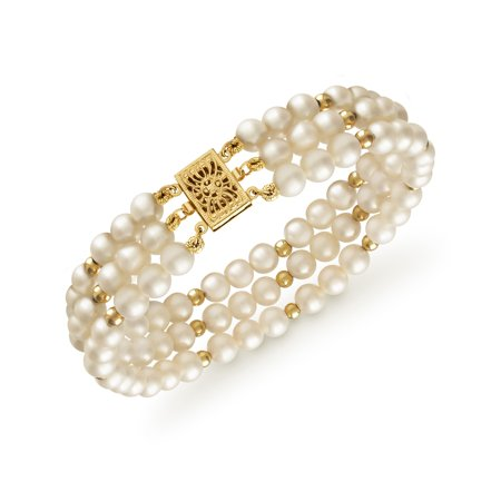 Cultured Freshwater Pearl 3-Row Bracelet in 14k Yellow Gold