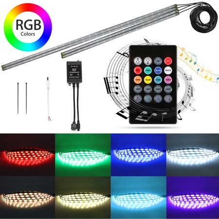 - 4-pack LED Neon Under Car Tube Glow Decorative Lights Lamp Kit Strip Underbody System Waterproof