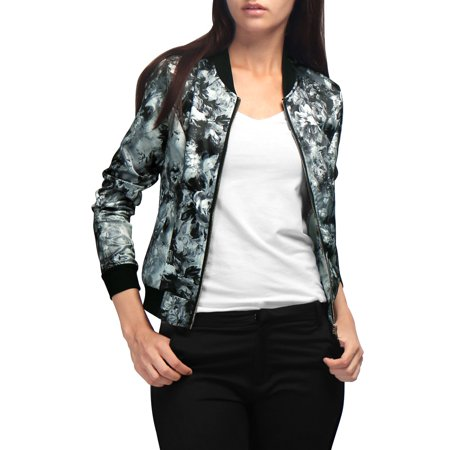Women's Stand Collar Front Zipper Long Sleeve Floral Print Satin Bomber Jacket with Pockets Outerwear Coat