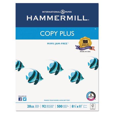 COPY PLUS PAPER, 92 BRIGHT, 20LB, 8-1/2 X 11, WHITE, 500/RM, 10 RM/CT