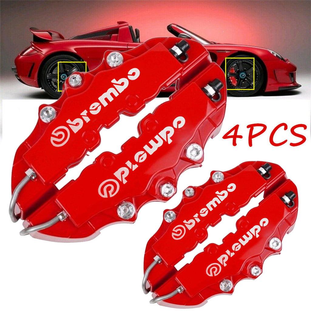4Pcs Red 3D Style Brake Caliper Covers Universal Car Brake Disc Front Rear Kit