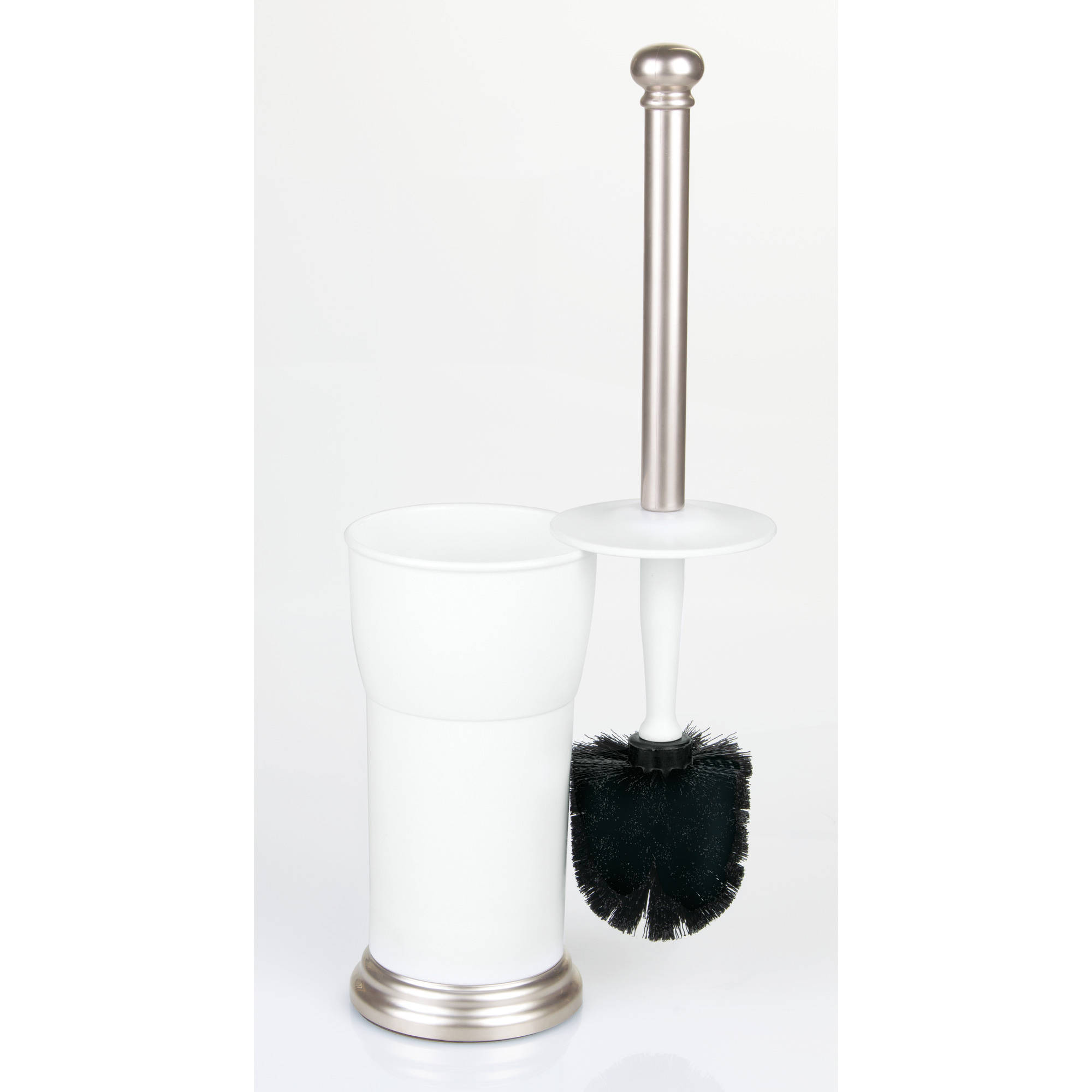 Better Homes and Gardens Bathroom Toilet Bowl Brush Holder, White Satin by INTERDESIGN