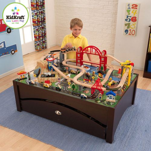 KidKraft Metropolis Train Table + 100pc Train Set