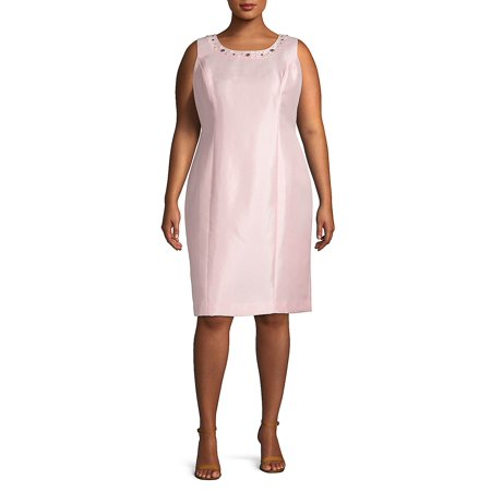 Plus Embellished Neck Sheath Dress](Lord And Taylor Dresses Clearance)