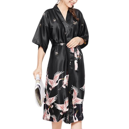Belted Satin Robe - Women's Satin Long Kimono Robe Nightgown Sleepwear Short Sleeve Belted Bathrobe Lightweight for Wedding Party