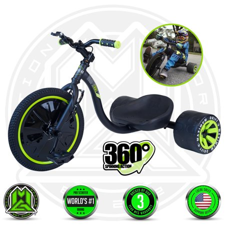 MADD GEAR – DRIFT TRIKE - Black Green – Drifting Trike – Suits Boys & Girls Ages 5+ - Max Rider Weight 150lbs – 3 Year Manufacturer's Warranty – Built (5 Rider)