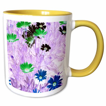 Multi Daisy Flower - 3dRose gerber daisies field multi colored flower invert 2 - Two Tone Yellow Mug, 11-ounce
