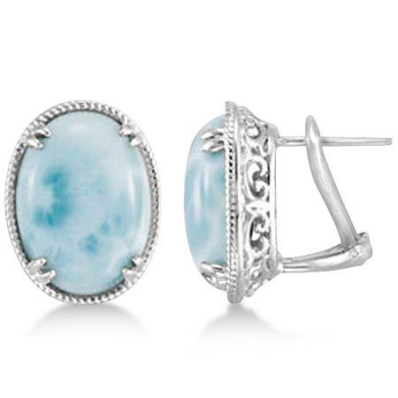 Vintage Oval Larimar Stud Earrings 16x12mm Gemstones Sterling Silver