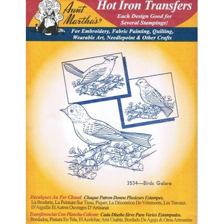 Birds Galore Aunt Martha's Hot Iron Embroidery Transfer ()