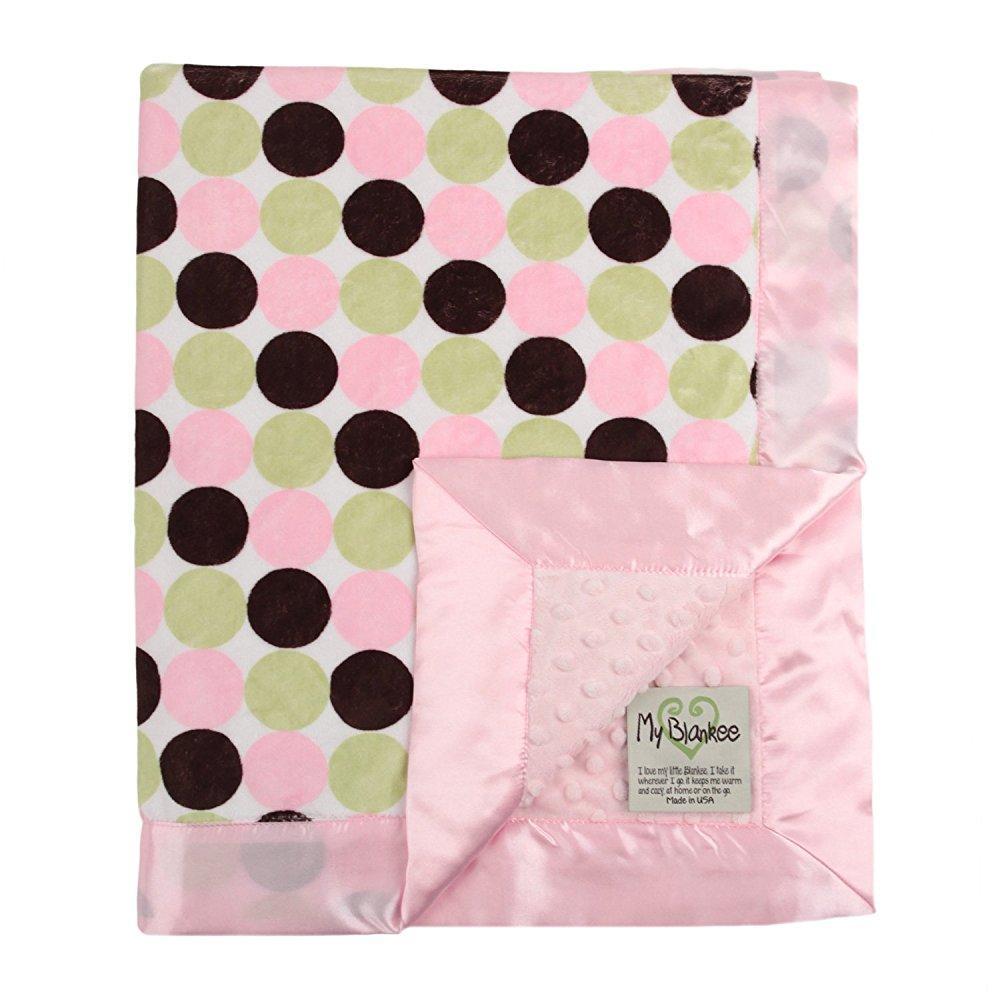 My Blankee retro dot minky w/ minky dot pink baby blanket, 30 x 35