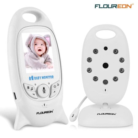 FLOUREON Wireless 2.4 GHz Baby Monitor Digital Video Nanny Security Camera Babyphone with 2.0 inch LCD Screen Monitor Room Temperature Two Way Talk Radio Night Vision